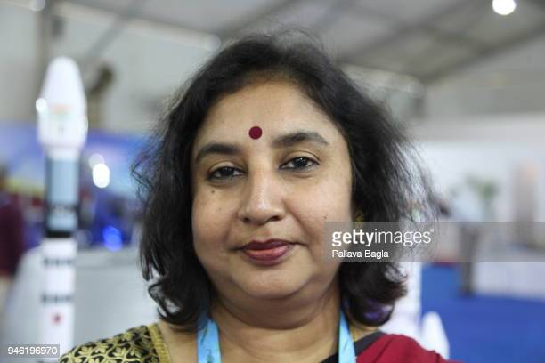 The incharge for the satellite project at Alpha Design Sujatha Deepak poses at DEFEXPO 2018 a defence equipment exhibition India launched its latest...
