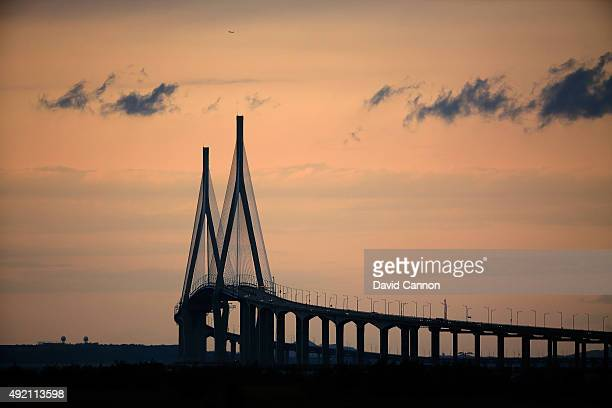 The Incheon bridge against the evening sky during the Saturday afternoon fourball matches at The Presidents Cup at Jack Nicklaus Golf Club Korea on...