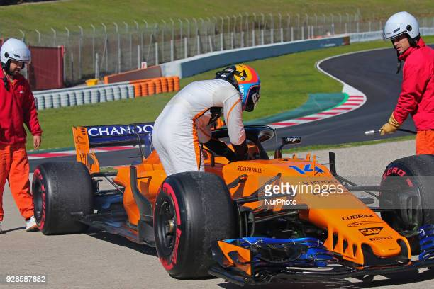 the incident of the McLaren of Fernando Alonso during theFormula 1 tests at the BarcelonaCatalunya Circuit on 07th March 2018 in Barcelona Spain...