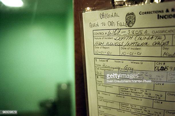 The incident report declaring the death of Gregory Hemingway at the door of the cell of the Miami Women Detention Center in which Gregory Hemingway...
