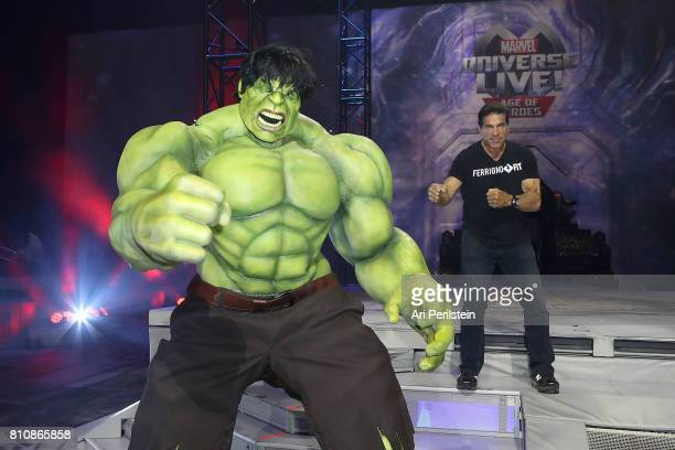 The Incredible Hulk and Actor Lou Ferrigno attend Marvel Universe LIVE Age Of Heroes World Premiere Celebrity Red Carpet Event at Staples Center on...