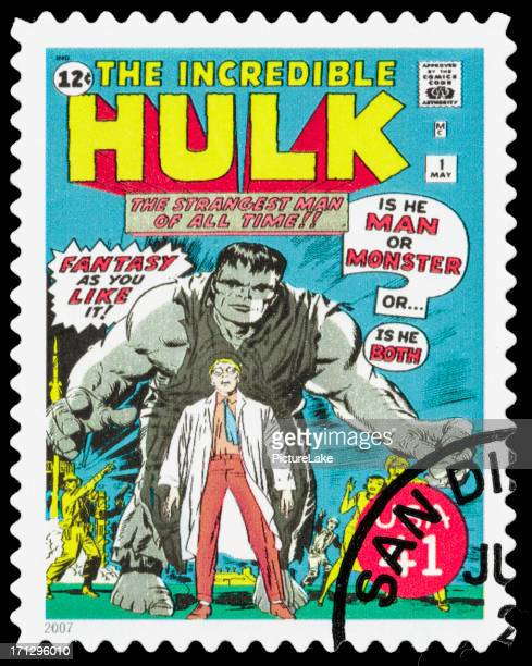 usa the incredible hulk comic book cover postage stamp - incredible hulk stock photos and pictures