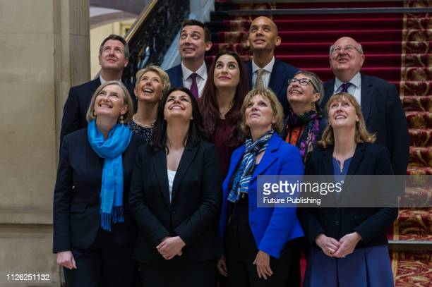 The Independent Group MPs pose for photographers in Institution of Civil Engineers in central London MPs Anna Soubry Sarah Wollaston and Heidi Allen...