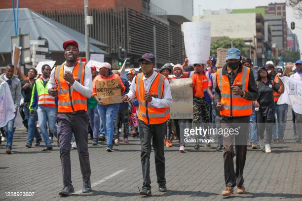 The Independent Liberation & Allied Workers Union march to the offices of the Gauteng Premier David Makhura on October 05, 2020 in Johannesburg,...