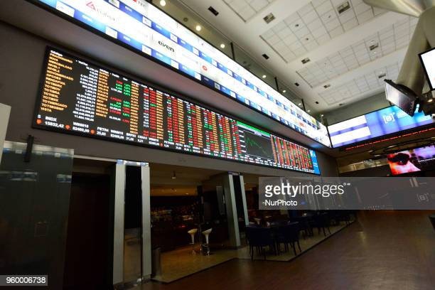 The index chart is seen on an electronic board at the Sao Paulo Stock Exchange in Sao Paulo Brazil on May 18 2018 The trading session began this...