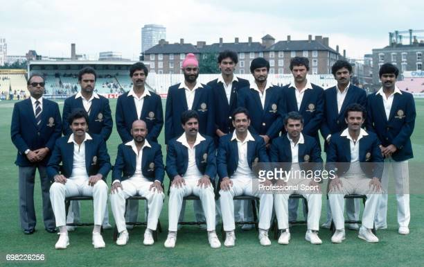 The India cricket team before the Prudential World Cup group match between India and West Indies at The Oval London 15th June 1983 Back row left to...