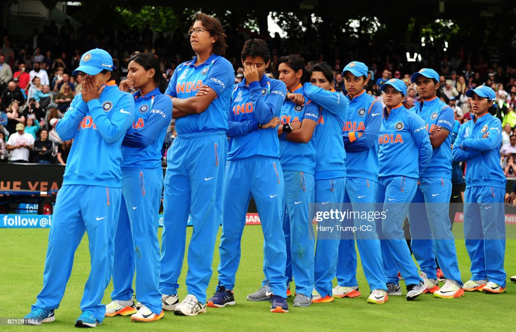 The India side cut dejected figures during the ICC Women's World Cup 2017 Final between England and India at Lord's Cricket Ground on July 23, 2017 in London, England.
