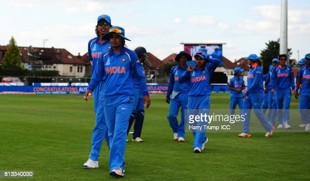 The India side leave the field after defeat to Australia during the ICC Women's World Cup 2017 match between Australia and India at The County Ground...