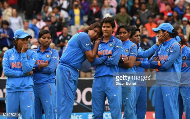 The India team are dejected after the ICC Women's World Cup 2017 Final between England and India at Lord's Cricket Ground on July 23 2017 in London...