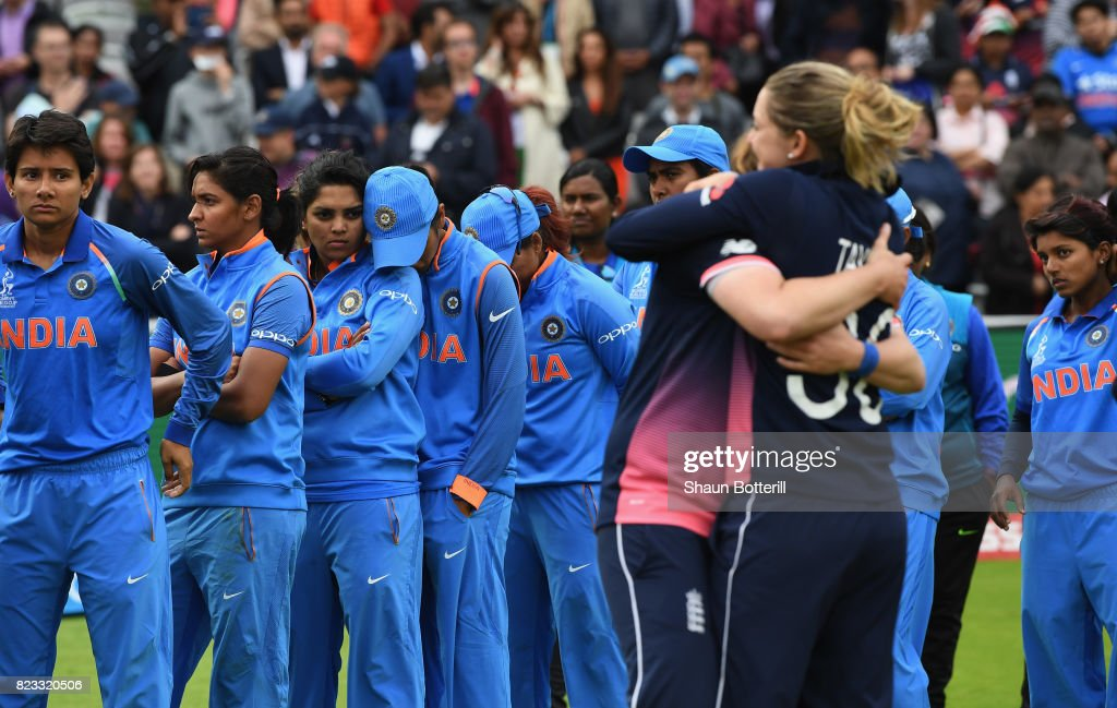 The India team are dejected after the ICC Women's World Cup 2017 Final between England and India at Lord's Cricket Ground on July 23, 2017 in London, England.
