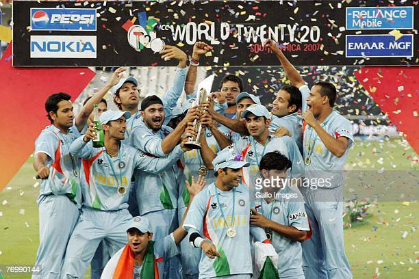The India team celebrate their victory as the ICC Twenty20 World Champions during the final match of the ICC Twenty20 World Cup between Pakistan and...