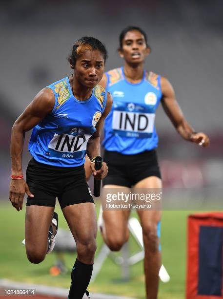 The India team compete during the Mixed 4x400m Relay on day ten of the Asian Games on August 28 2018 in Jakarta Indonesia