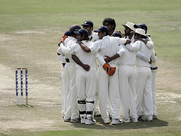The India team during their group huddle during day three of the Second Test between India and England at the Punjab Cricket Association Stadium on...