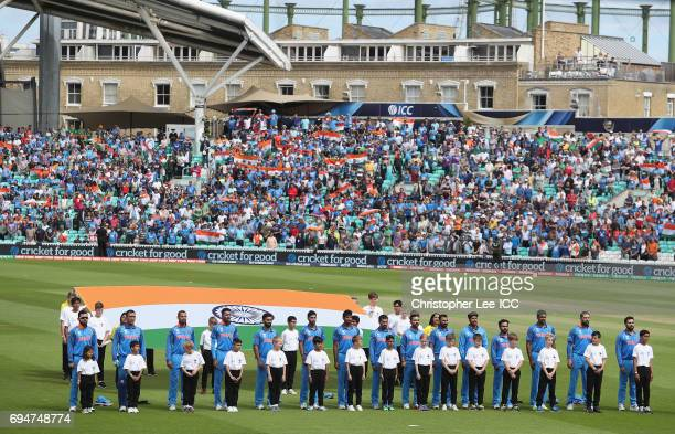 The India team during their national anthem during the ICC Champions Trophy Group B match between India and South Africa at The Kia Oval on June 11...