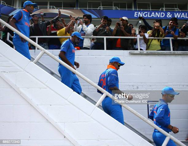 The India team make their way out to the pitch during the ICC Champions Trophy Warmup match between India and New Zealand at The Kia Oval on May 28...