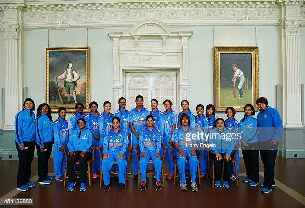 The India team pose for a team photograph in the Lord's Long Room during the Women's Royal London ODI match between England and India at Lord's...