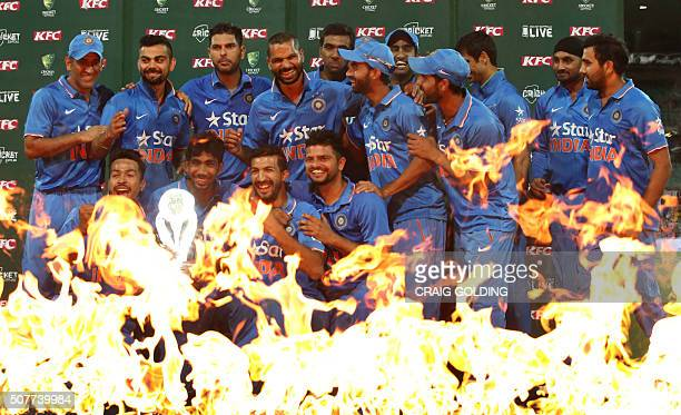 The India team poses during the third Twenty20 international cricket match between India and Australia in Sydney on January 31 2016 GOLDING