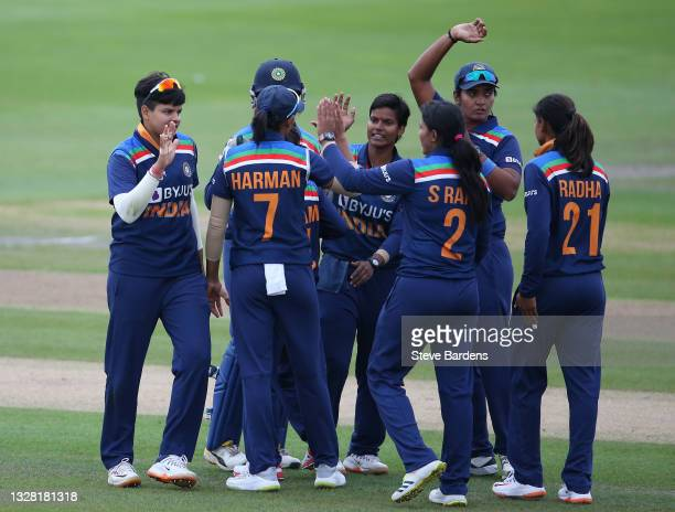 The India Women's players celebrate their victory over England during the Women's Second T20 International match between England and India at The 1st...