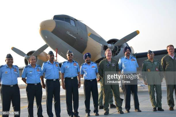 The Indian Air Force on Friday formally inducted a fully refurbished Dakota military transport aircraft at Hindon air base on May 4 2018 in Ghaziabad...