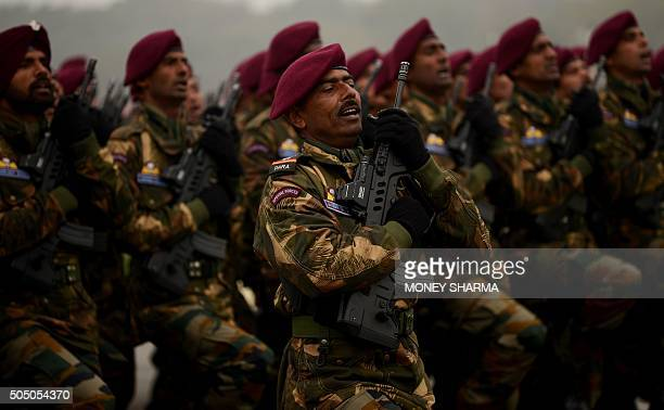 The Indian Army's Para Commando contingent marches during the Army Day parade in New Delhi on January 15 2016 The Indian army celebrated the 67th...