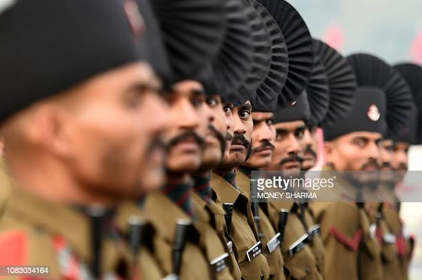 TOPSHOT The Indian Army's Rajputana Rifles regiment marches during the Army Day parade in New Delhi on January 15 2019 The Indian Army celebrated the...
