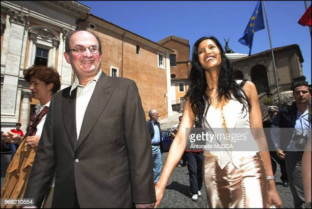 The Indian author Salman Rushdie and his wife Padma Lakshmi arrive at the Campidoglio for the press conference to present the International Festival...