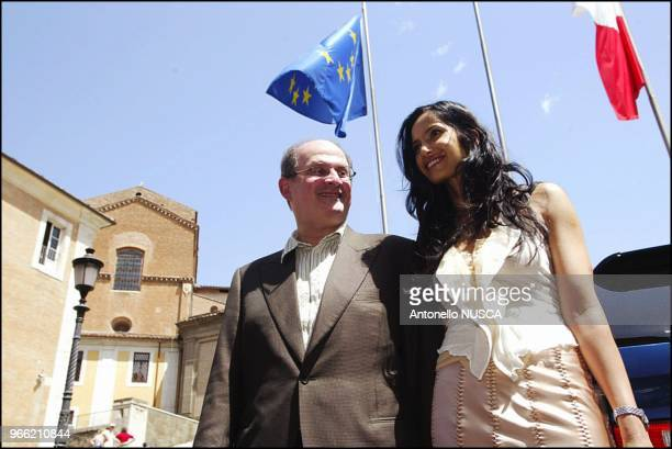 The Indian author Salman Rushdie and his wife Padma Lakshmi at the Campidoglio for the press conference to present the International Festival of...