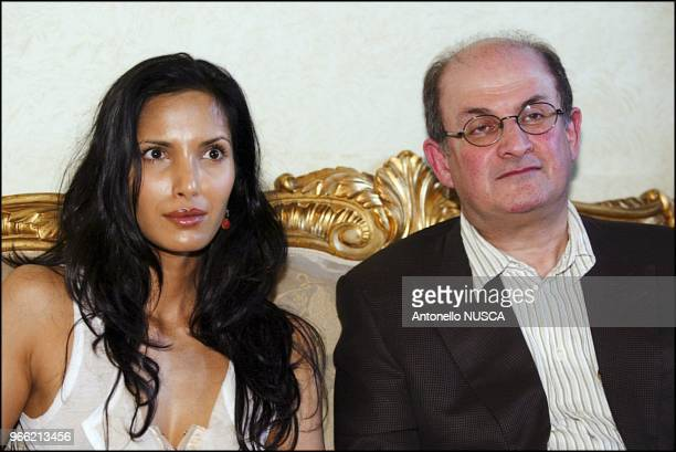 The Indian author Salman Rushdie and his wige Padma Lakshmi at the Campidoglio for the press conference to present the International Festival of...