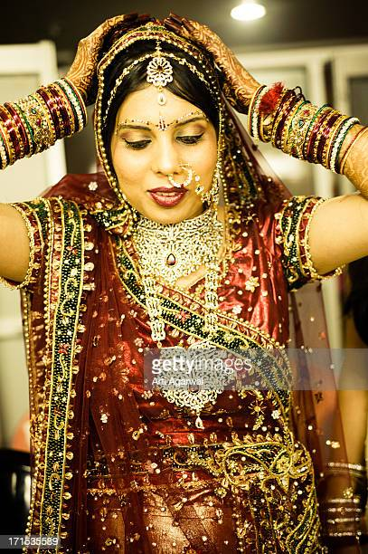 The Indian bride getting ready