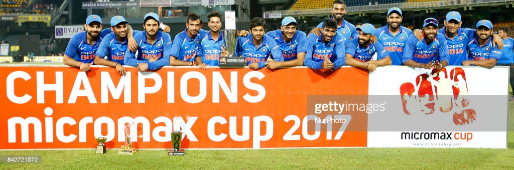 The Indian cricket team pose for a photograph after winning the ODi series against the host Sri Lanka after the 5th and final One Day International cricket match between Sri Lanka and India at the R Premadasa international cricket stadium at Colombo, Sri Lanka on Sunday 3 September 2017.