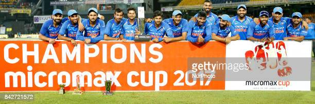The Indian cricket team pose for a photograph after winning the ODi series against the host Sri Lanka after the 5th and final One Day International...