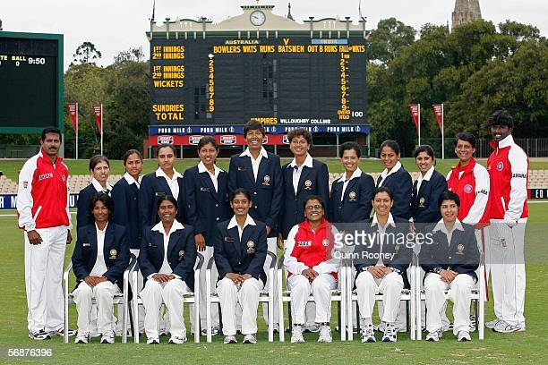 The Indian cricket team poses for a photo before Day 1 of the Women's International Test Cricket match between Australia and India at the Adelaide...