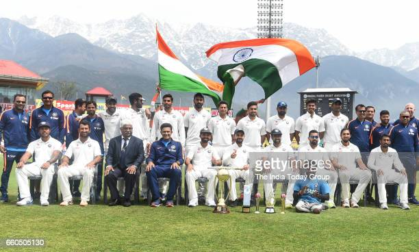 The Indian cricket team poses with the BorderGavaskar trophy after winning the series against Australia on the 4th day of the fourth test match at...