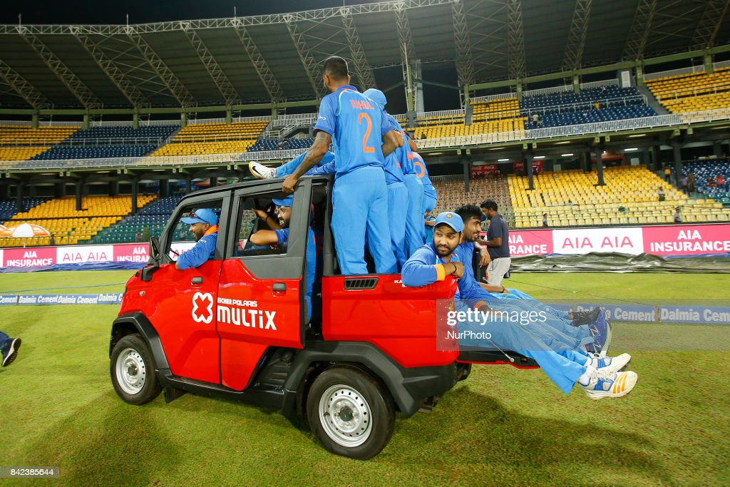 The Indian cricket team take a ride in a van after winning the ODI series against the host Sri Lanka by 5-0 after the 5th and final One Day International cricket match between Sri Lanka and India at the R Premadasa international cricket stadium at Colombo, Sri Lanka on Sunday 3 September 2017.