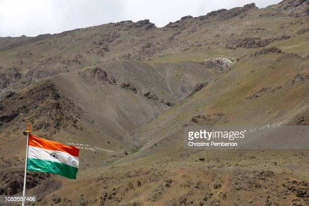 The Indian flag flying at the Kargil War Memorial in Drass, Kashmir state, India