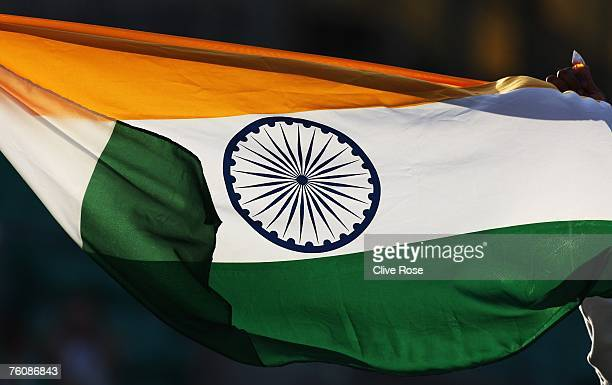 The Indian flag is pictured during day five of the Third Test match between England and India at the Oval on August 13 2007 in London England