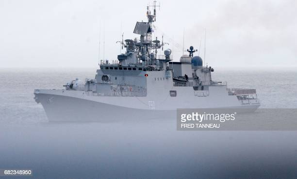 The Indian frigate Tarkash takes part in an international military exercise with the French navy on May 11 2017 off the coasts of Brest western...