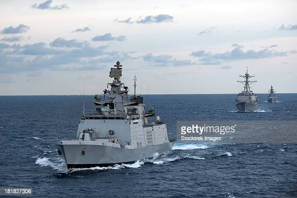 The Indian Navy frigate INS Satpura is underway with U.S. Navy ships.