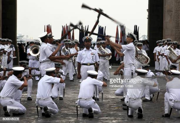 The Indian Navy personnel practices for the Beating Retreat ceremony at the Gateway of India which will be held on December 3 and December 4. It is...
