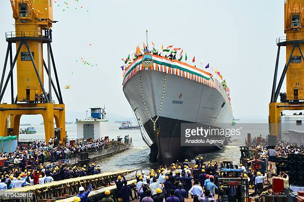 The Indian Navys newly built warship INS Visakhapatnam sails into the Arabian Sea during its launch at Mazagon Dock in Mumbai India Monday April 20...