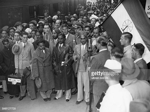 The indian Olympic team at its arrival in Berlin 1936 Photographer Heinrich Hoffmann Published by 'Berliner Morgenpost' Vintage property of ullstein...