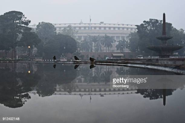 The Indian Parliament building stands in New Delhi India on Tuesday Jan 30 2018 With India's Finance Minister Arun Jaitley readying to deliver his...