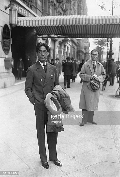 The Indian philosopher Jiddu Krishnamurti in front of a hotel Unter der Linden Berlin About 1929 Photograph