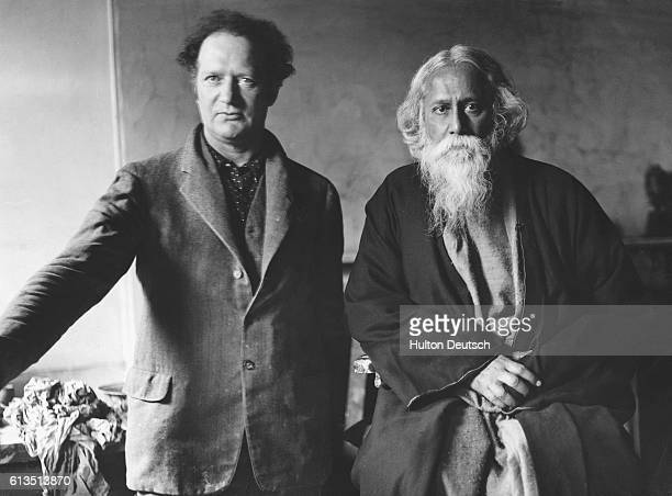 The Indian poet and philosopher Rabindranath Tagore with the sculptor Jacob Epstein