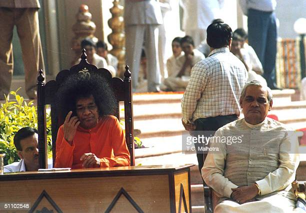 The Indian Prime Minister Atal Bihari Vajpayee Meets With Religous Leader Satya Sai Baba From South India March 121999 In New Delhi Sai Baba A...