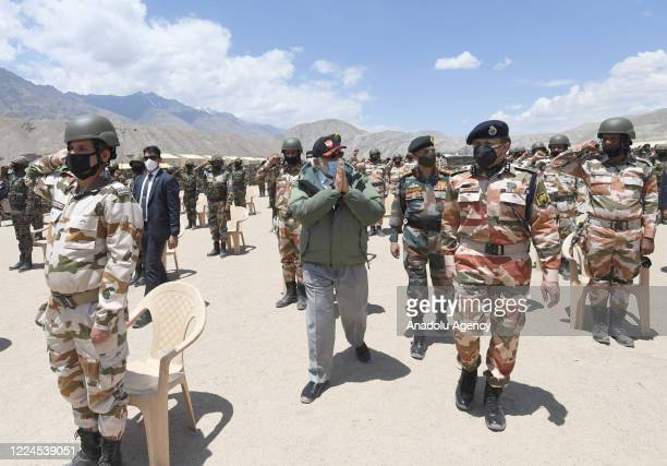 The Indian Prime Minister, Narendra Modi visits Nimu in Ladakh to interact with Indian troops, on July 03, 2020.