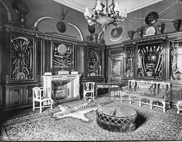 The Indian Room in Buckingham Palace circa 1930 The chairs are carved from ivory and the swords and daggers are from King Edward VII's collection