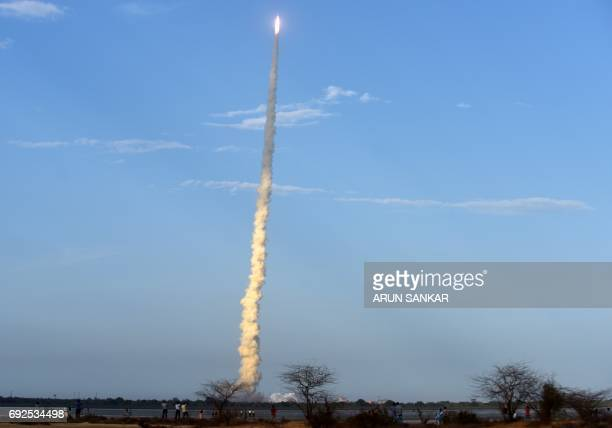 The Indian Space Research Organisation communication satellite GSAT19 carried onboard the Geosynchronous Satellite Launch Vehicle launches at...