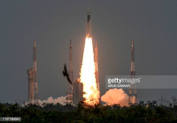 The Indian Space Research Organisation's Chandrayaan2 with on board the Geosynchronous Satellite Launch Vehicle launches at the Satish Dhawan Space...