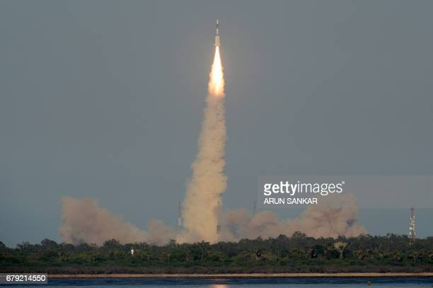 The Indian Space Research Organisation's GSAT9 on board the Geosynchronous Satellite Launch Vehicle launches from Sriharikota in the southern state...